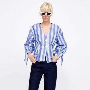 Zara blue striped balloon sleeve pleated top